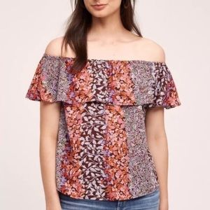 Anthropologie Maeve Off Shoulder Ruffle Top Small